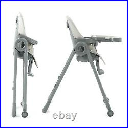 Grey Baby Highchair, Foldable Portable High Chair With Adjustable Seat Positions