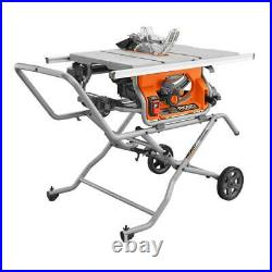 Heavy Duty 10 in. 15 Amp 5000 RPM Portable Jobsite Table Saw with Stand & Blade
