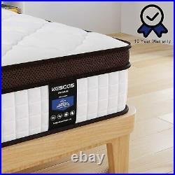 Kescas Queen Size Mattress 10 Inch Memory Foam Pocket Spring Mattress in a Box