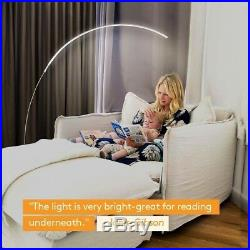 LED Floor Lamp Dimmable Curved Portable Contemporary Energy Saving Arched Silver