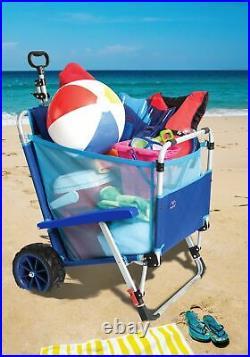 Mac Sports 2-in-1 Beach Day Folding Lounge Chair+Cargo Cart for Outdoors Sunbath