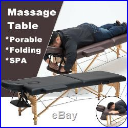 Massage Table Bed Black Therapy Beauty Adjustable Couch Salon Portable