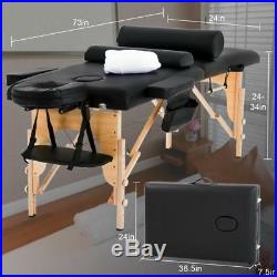 Massage Table Massage Bed Spa Bed 73 inch Long Height Adjustable Portable 2 Fold