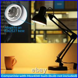Metal Desk Lamp Adjustable Swing Arm With Interchangeable Base & Clamp Reading