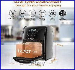 Moosoo Air Fryer Oven Pro MA30 XXL 12.7 Qt 1700W 10 Accessories & Recipe 8-in-1