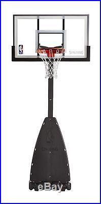NEW Spalding 54 Portable Basketball System Adjustable Hoop Backboard Pole
