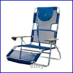 Ostrich 3 N 1 Aluminum Frame 5 Position Reclining Beach Chair, Blue (Open Box)