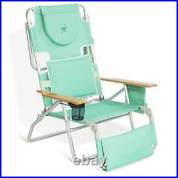 Ostrich Deluxe Padded 3 N 1 Outdoor Lounge Folding Reclining Beach Chair, Teal