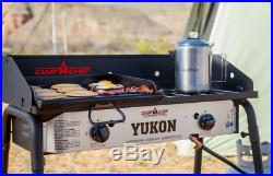 Outdoor Camping Stove 2 Burner Adjustable Heat Removable Leg 3 Sided Windscreen