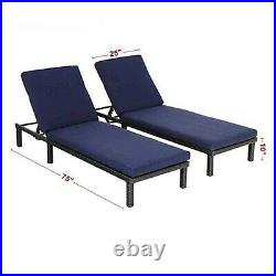 Outdoor Patio Recliner Lounge Set of 2 Adjustable Chaise Deck Chair With Cushion