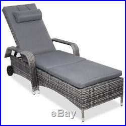 Patio Rattan Chaise Lounge Chair Recliner Cushioned Furni Adjustable Back Wheel