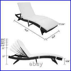 Patio Rattan Chaise Lounge Chair Recliner Cushioned Furniture Adjustable Beach