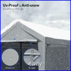 Peaktop Outdoor Gray 10'x20' Adjustable Height Heavy Duty Carport Garage Shed US