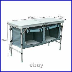 Picnic Table Camping BBQ Banquet Folding Storage Adjustable Portable Garden