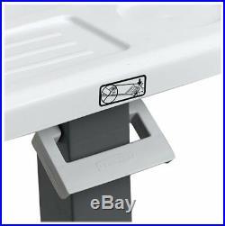 Plastic Overbed Table Bedside Wheel Rolling Eating Tray Adjustable Portable Desk