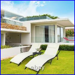 Pool Side Porch Chaise Lounge Chair Outdoor Patio Sun Bed Rattan Furniture 3 PCS