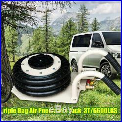 Portable 3T Triple Bag Air Jack Pneumatic Adjustable Ton Vehicle Jack 6600lbs