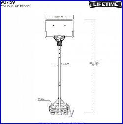 Portable Adjustable Outdoor Basketball Hoop, 44 in. Black Backboard, 7.5 10 ft