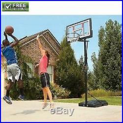 Portable Basketball System Hoop Adjustable 48-In. Backboard Pole Goal Basketball