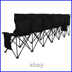 Portable Folding Bench 6 Seat 600D Oxford Fabric Chairs for Sports Camping Black
