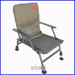Portable Folding Carp Fishing Chair Camping Heavy Duty 4 Adjustable Legs FC-053