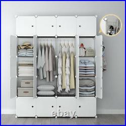 Portable Wardrobe Closet Cube Storage Armoire Plastic Dresser, White 5x4 Tiers