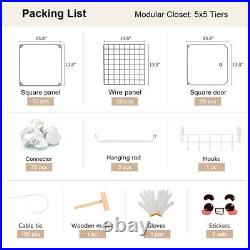 Portable Wardrobe Closet Cube Storage Armoire Plastic Dresser White 5x5 Tiers