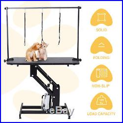 Portable Z-Lift Hydraulic Grooming Table Dog Cat Pet withAdjustable Arm & Noose