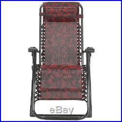 Portable Zero Gravity Chair Garden Recliner Heavy Duty Beach Sun Lounger WithTray