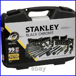 STANLEY 99-Piece Mechanics Tool Set Hand Tools Workshop Portable Black Chrome