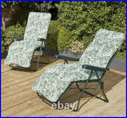 Set Of 2 Padded Sun Loungers Outdoor Cushion Patio Chair Garden Recliner Seating