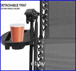 Set Of 2 Reclining Sun Lounger Outdoor Garden Patio Gravity Chair In Grey Color