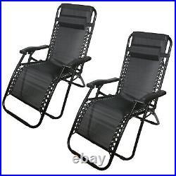 Set Of 2 Reclining Sun Lounger Outdoor Garden Patio Gravity Chair Recliner Bed