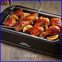 Smokeless Indoor Electric Grill & Griddle Plates POWER Black XL Non-Stick BBQ