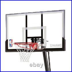 Spalding 54 Portable Basketball System Adjustable Hoop Backboard Net Pole