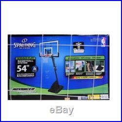 Spalding 54 Portable Basketball System Adjustable Hoop Backboard Net Pole NBA