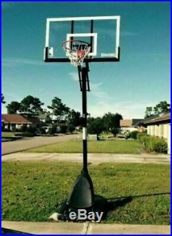 Spalding NBA 54 Portable Angled Basketball Hoop Rim System Adjustable Backboard
