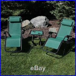 Sunnydaze Forest Green Zero Gravity Lounge Lawn Chair and Side Table Set
