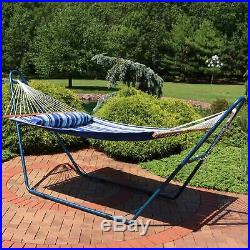 Sunnydaze Quilted 2-Person Hammock and Universal Blue Steel Stand Catalina Beach