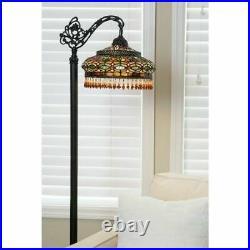 Tiffany Style Floor Lamp Elegant Victorian Parisian Formal Side Arm Living Room