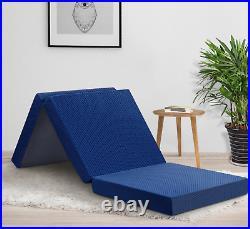 Tri Fold Memory Foam Mattress 4 Inch Blue Cushioned Camping Cabin Portable Bed