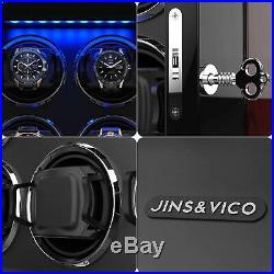Watch Winder for 8 Automatic Watch Adjustable Wooden Finish LED Light LCD Touch