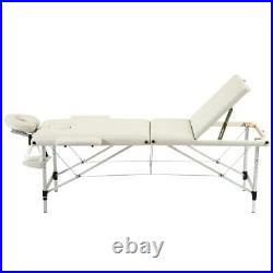 White Beauty Salon Facial Adjustable Bed Tattoo Parlor Spa 3 Fold Massage Table