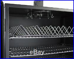 Wide Body Vertical Offset Charcoal Smoker With 6 Height Adjustable Cooking Grates