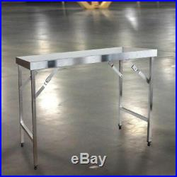 Workbench 48 in. X 24 in. Portable Folding Stainless Steel with Adjustable Feet