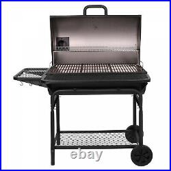 XL Charcoal Grill With Adjustable Charcoal Grate+2-Large Metal Shelves BBQ Camping